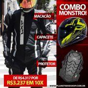 Macacão WXR 2 Peças Preto/Branco + Capacete Nexx XR2 + Protetor Coluna Tutto Moto - SuperOferta!