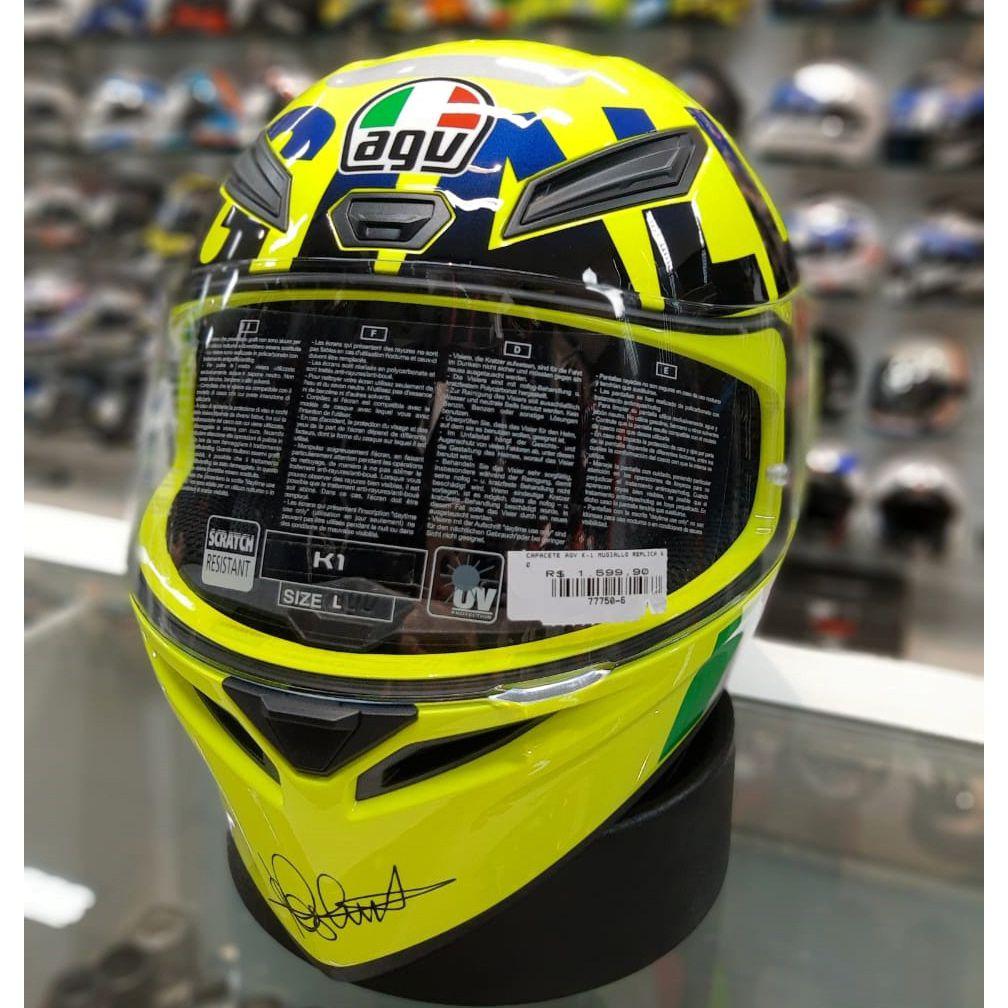 Capacete AGV K-1 Mugiallo Réplica Valentino Rossi Oficial  - Planet Bike Shop Moto Acessórios