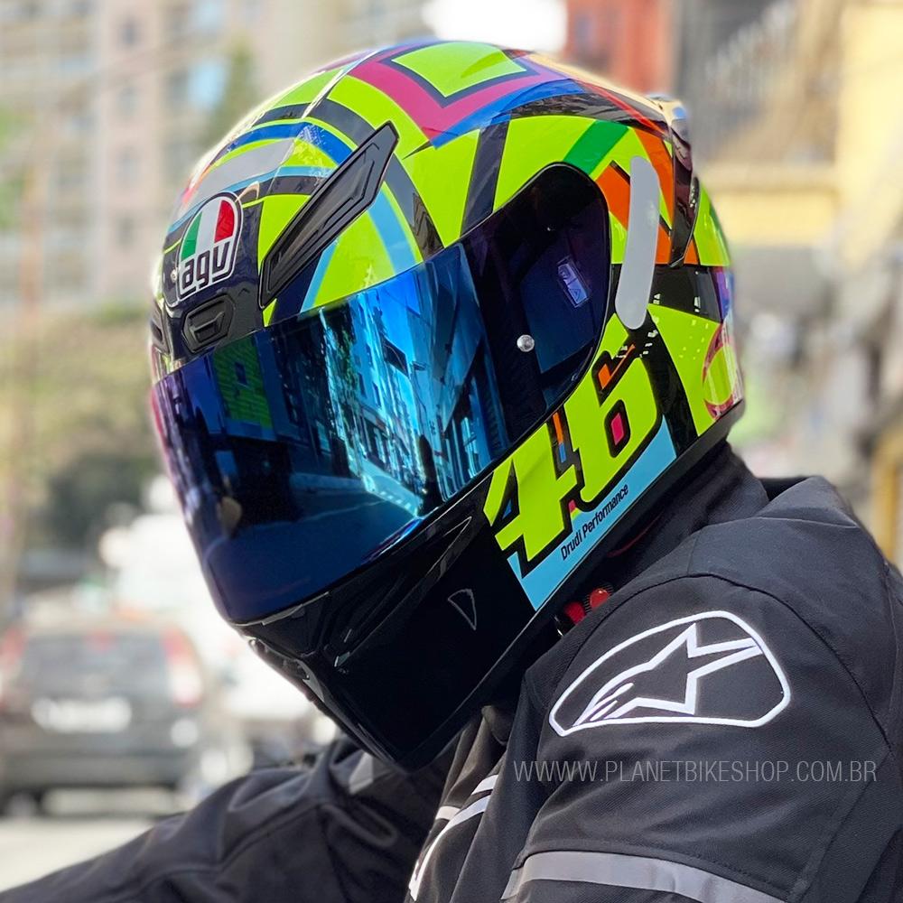 Capacete AGV K-1 Soleluna 17 Valentino Rossi Oficial Piloto (K1) - COM + 1,00 LEVE JUNTO A TOUCA BALACLAVA  - Planet Bike Shop Moto Acessórios