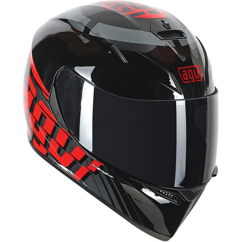Capacete AGV K-3 SV Myth Black/Grey/Red C/ Viseira Interna Solar   - Planet Bike Shop Moto Acessórios