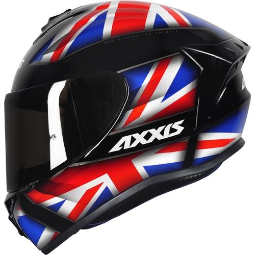 Capacete Axxis Draken Uk Inglaterra Preto Azul Vermelho  - Planet Bike Shop Moto Acessórios