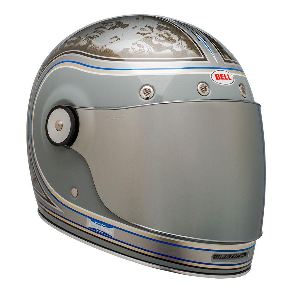 Capacete Bell Bullitt Schultz Century c/ Viseira Cristal + Viseira Extra Flat Espelhada Prata Brinde  - Planet Bike Shop Moto Acessórios