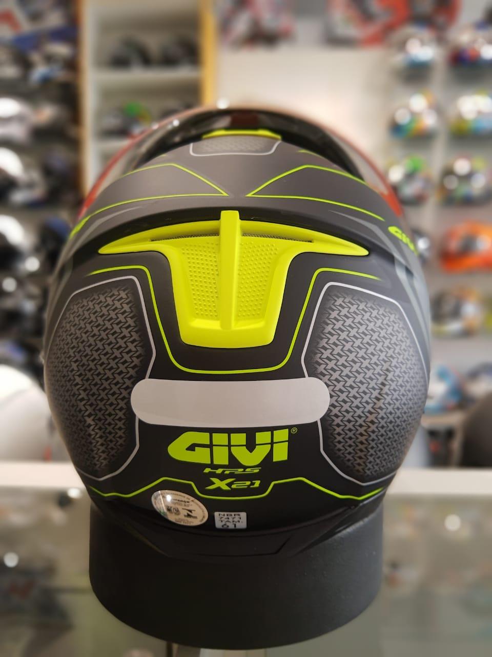 CAPACETE GIVI X21 SHIVER PRETO/ TITANIUM /AMARELO FOSCO  - Planet Bike Shop Moto Acessórios