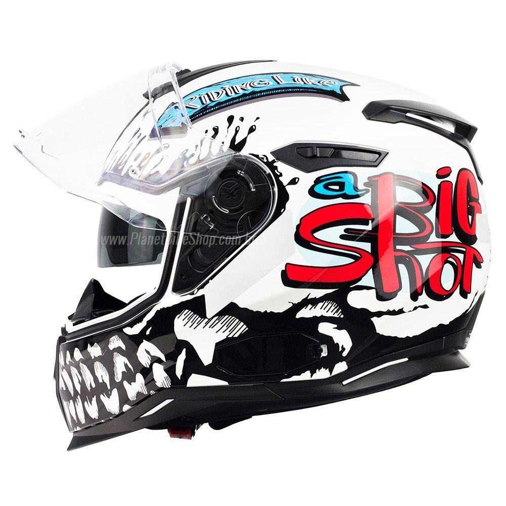 Capacete Nexx Sx100 Big Shot Branco - Acompanha Pinlock (Película Anti-Embaçante)  - Planet Bike Shop Moto Acessórios