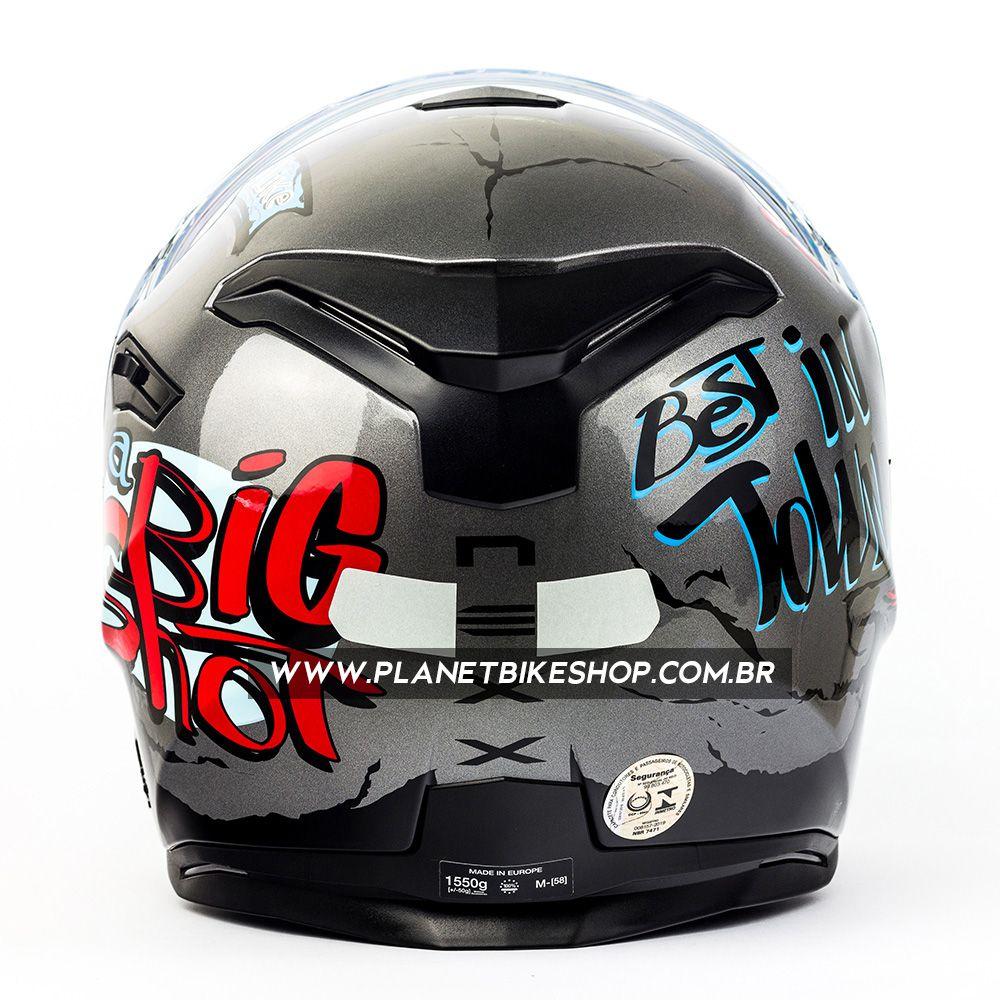 Capacete Nexx Sx100 Big Shot Cinza - Acompanha Pinlock (Película Anti-Embaçante)  - Planet Bike Shop Moto Acessórios