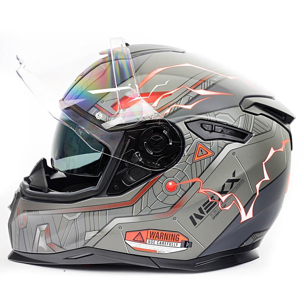 Capacete Nexx Sx100 Gigabot Cinza/Vermelho Fosco - Acompanha Pinlock (Película Anti-Embaçante) - LANÇAMENTO  - Planet Bike Shop Moto Acessórios