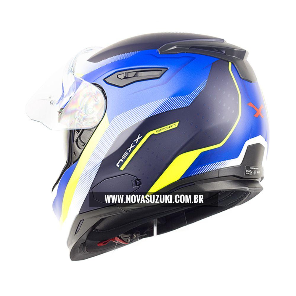 Capacete Nexx Sx100 Mantik Azul/Amarelo Fosco - Acompanha Pinlock (Película Anti-Embaçante)  - Planet Bike Shop Moto Acessórios