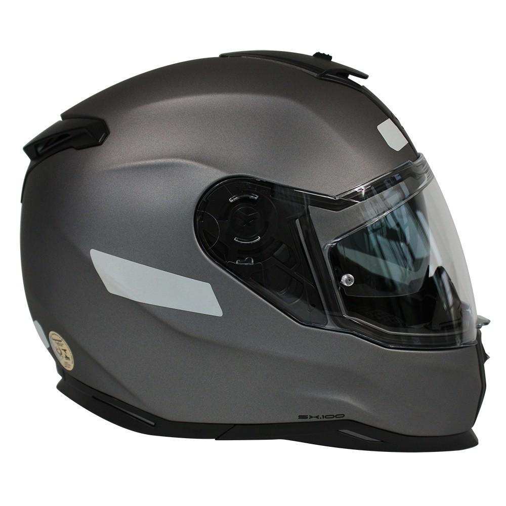 CAPACETE NEXX SX100 PLAIN CINZA FOSCO - Com Viseira Solar  - Planet Bike Shop Moto Acessórios