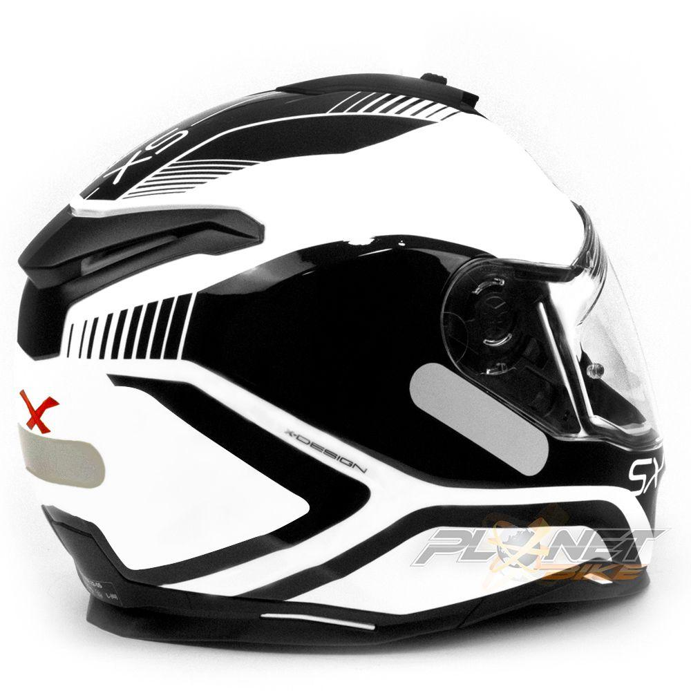 Capacete Nexx SX100 Popup Black/White C/ Viseira Solar (Ganhe um Pinlock Anti-Embaçante!)  - Planet Bike Shop Moto Acessórios