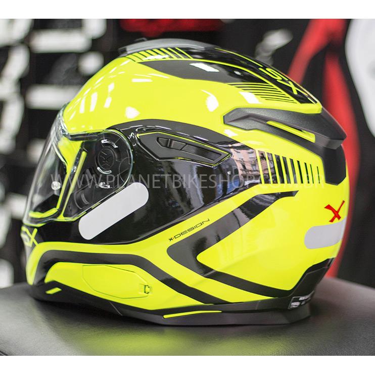 Capacete Nexx SX100 Popup - Black/Yellow C/ Viseira Solar (Ganhe um Pinlock Anti-Embaçante!)  - Planet Bike Shop Moto Acessórios