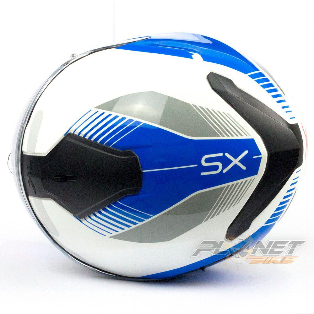 Capacete Nexx SX100 Popup - Blue/White C/ Viseira Solar (Ganhe um Pinlock Anti-Embaçante!)  - Planet Bike Shop Moto Acessórios