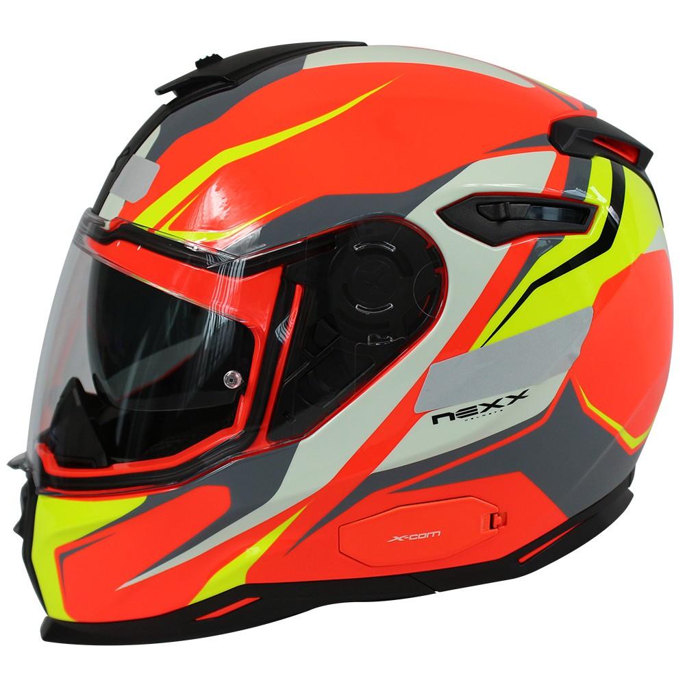 CAPACETE NEXX SX100 QUANTIC LARANJA/AMARELO Com Viseira Solar  - Planet Bike Shop Moto Acessórios