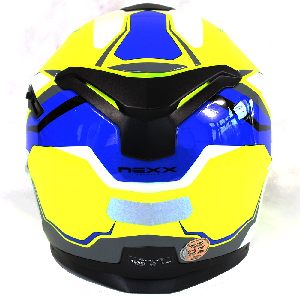 CAPACETE NEXX SX100 QUANTIC NEON/AMARELO/AZUL Com Viseira Solar   - Planet Bike Shop Moto Acessórios