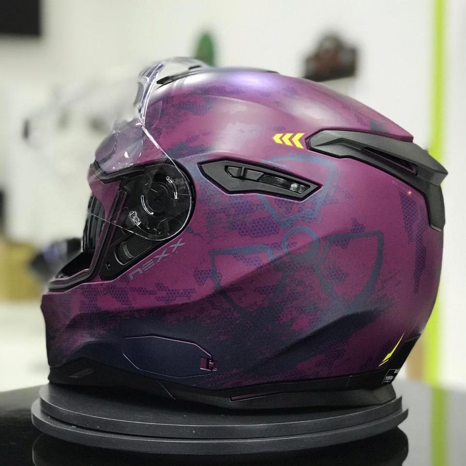 Capacete Nexx Sx100 Toxic Rosa/Roxo Fosco - Acompanha Pinlock (Película Anti-Embaçante)  - Planet Bike Shop Moto Acessórios