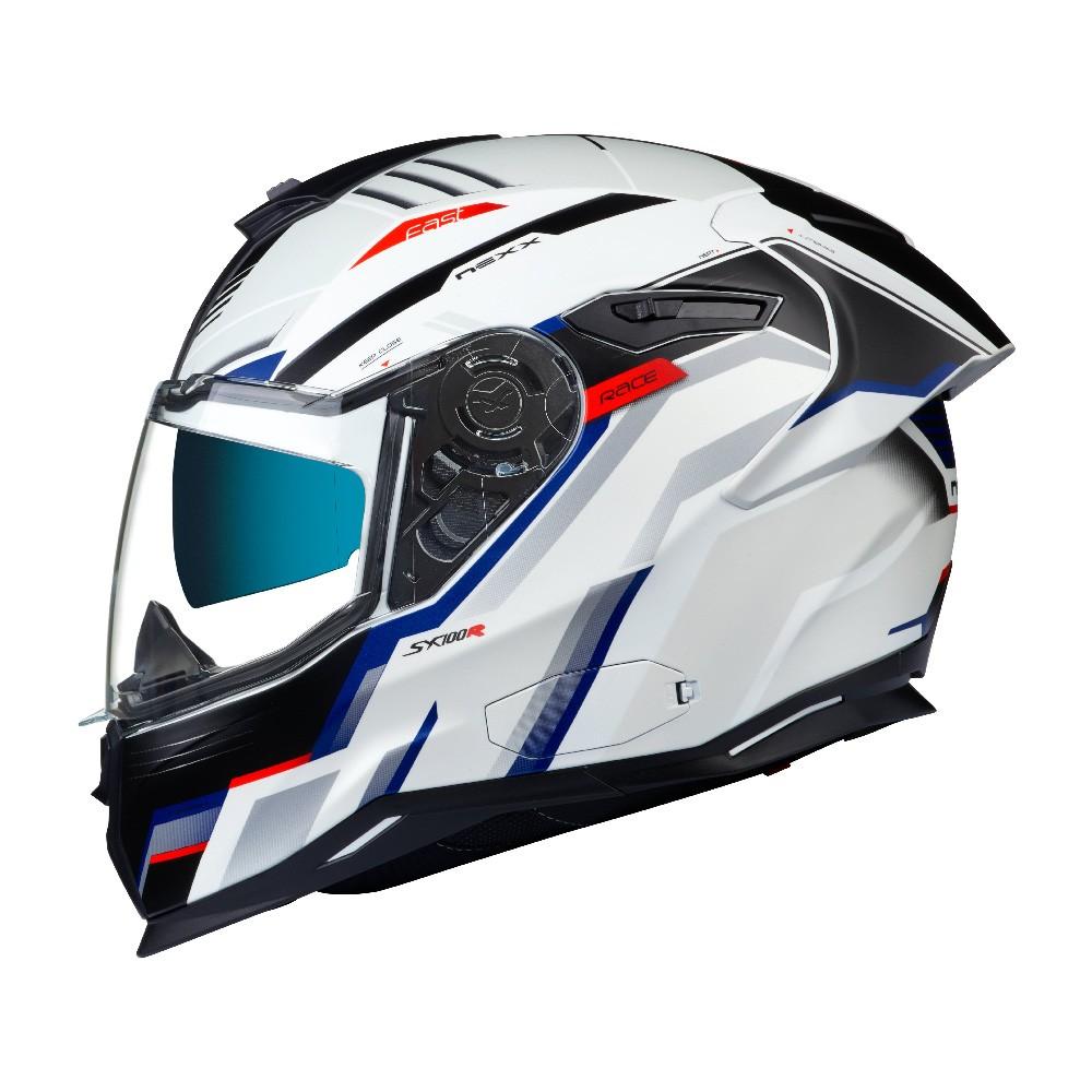 Capacete Nexx Sx100R Gridline Branco/Azul Fosco - Acompanha Pinlock (Película Anti-Embaçante) - LANÇAMENTO 2020  - Planet Bike Shop Moto Acessórios