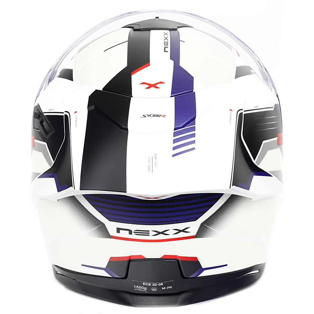Capacete Nexx Sx100R Gridline Branco/Azul Fosco - Acompanha Pinlock (Película Anti-Embaçante)  - Planet Bike Shop Moto Acessórios