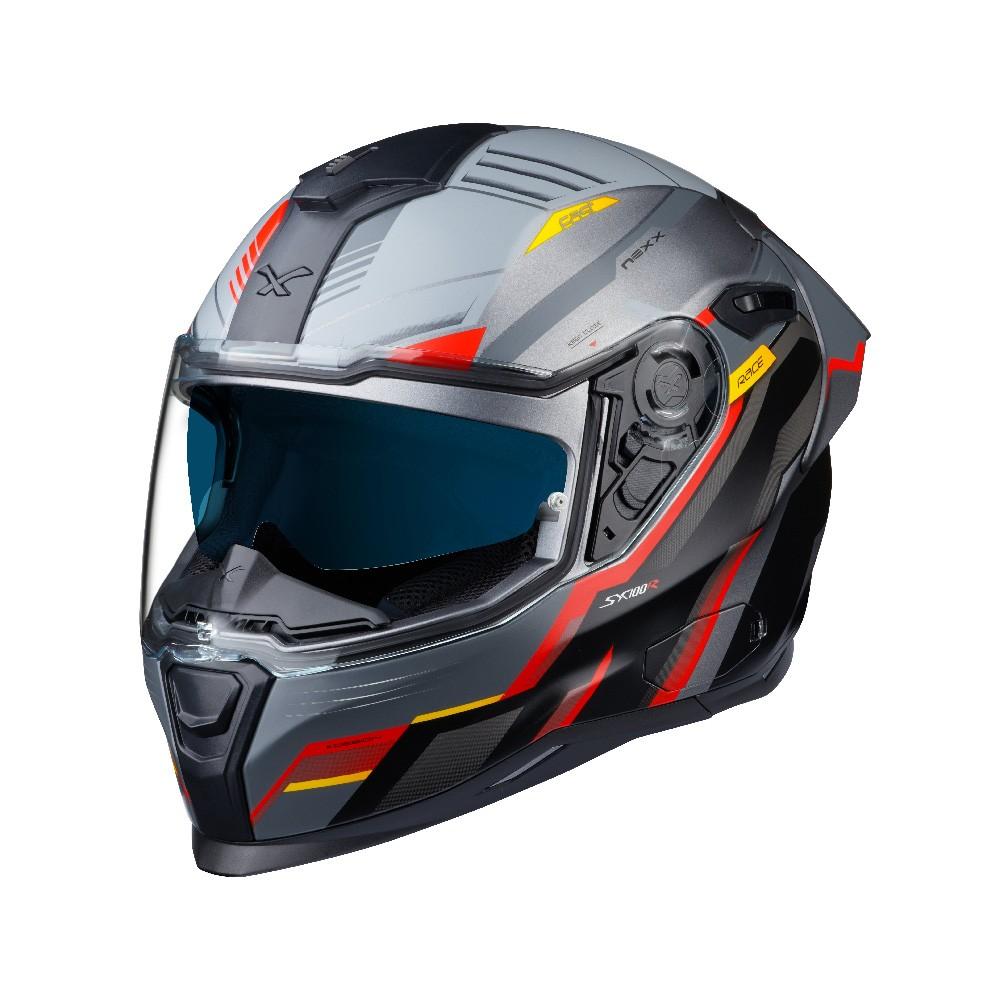 Capacete Nexx Sx100R Gridline Cinza/Vermelho Fosco - Acompanha Pinlock (Película Anti-Embaçante) - LANÇAMENTO 2020  - Planet Bike Shop Moto Acessórios