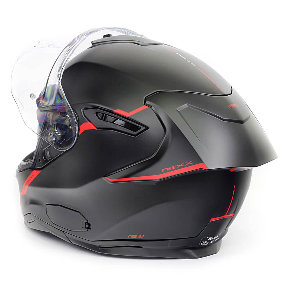 Capacete Nexx Sx100R Shortcut Preto/Vermelho- Acompanha Pinlock (Película Anti-Embaçante)  - Planet Bike Shop Moto Acessórios
