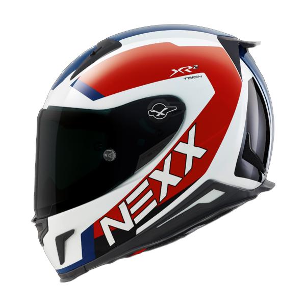 CAPACETE NEXX XR2 TRION BRANCO/AZUL Tri-Composto   - Planet Bike Shop Moto Acessórios