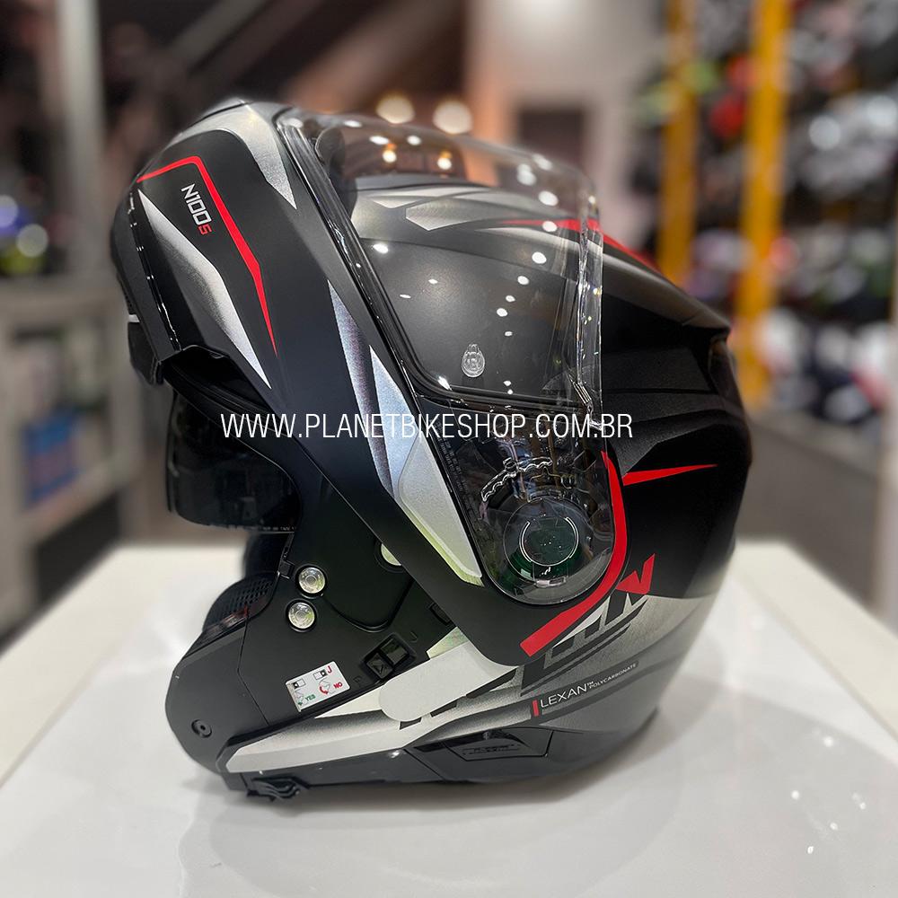 Capacete Nolan N100-5 Balteus Preto/Cinza/Vermelho (42) Escamoteável C/ Viseira Solar - Ganhe Touca Balaclava  - Planet Bike Shop Moto Acessórios