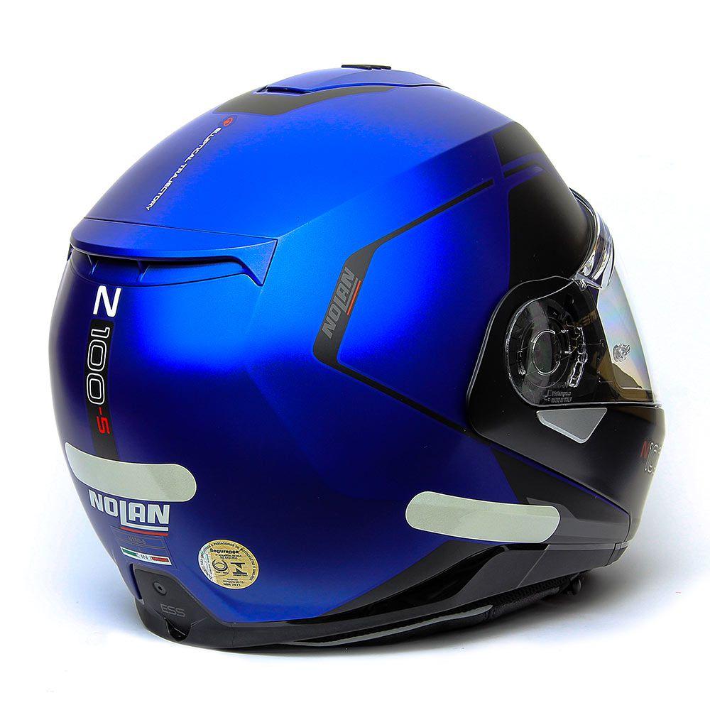 Capacete Nolan N100-5 Consistency Azul Fosco (24) Escamoteável C/ Viseira Solar - Ganhe Touca Balaclava  - Planet Bike Shop Moto Acessórios
