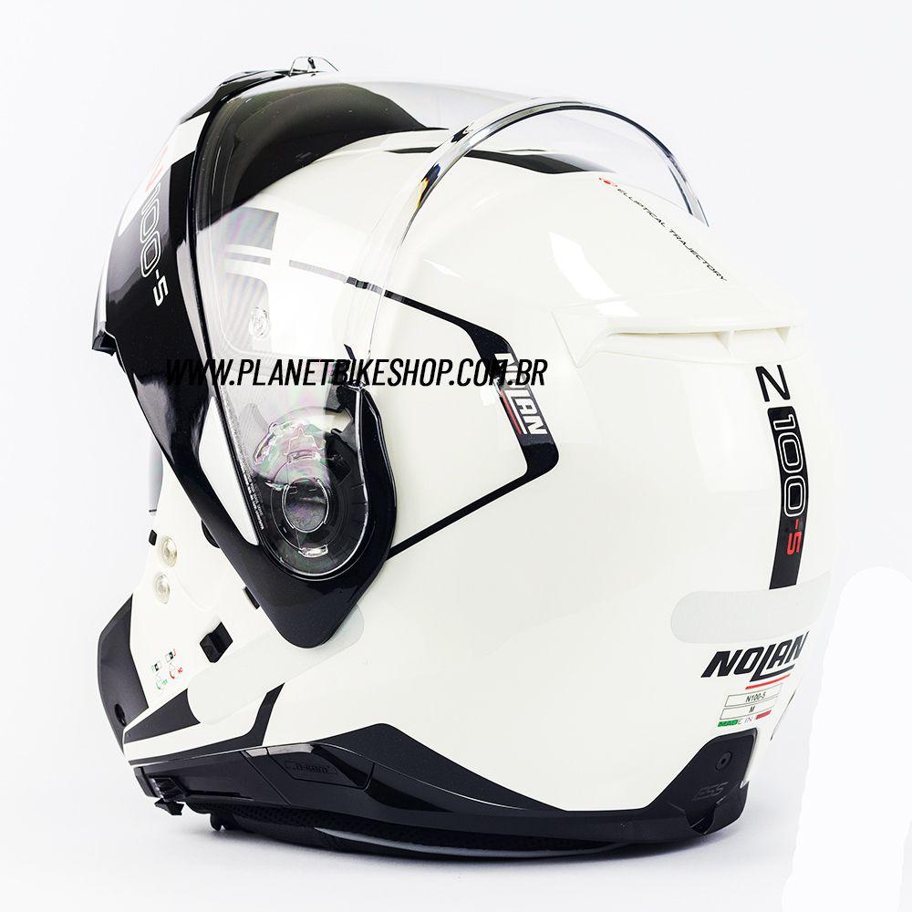 Capacete Nolan N100-5 Consistency Branco (19) - Escamoteável C/ Viseira Solar (Ganhe Touca Balaclava)  - Planet Bike Shop Moto Acessórios