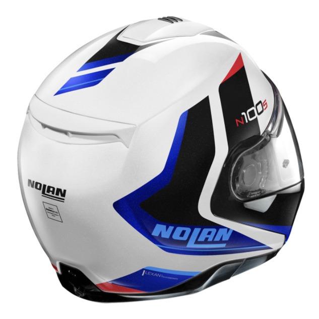 Capacete Nolan N100-5 Hiltop Branco/Azul/Preto (49) Escamoteável C/ Viseira Solar - Ganhe Touca Balaclava  - Planet Bike Shop Moto Acessórios
