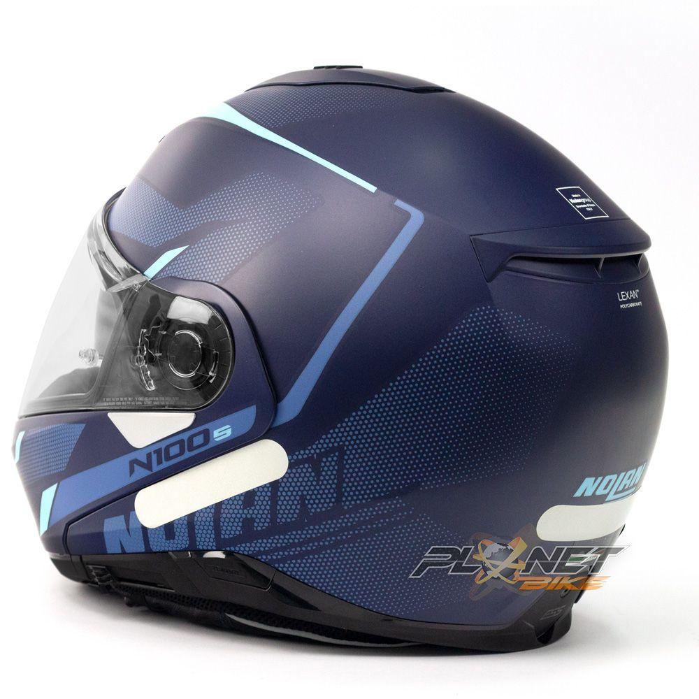 Capacete Nolan N100-5 Lumiere Azul Fosco (40) - Escamoteável C/ Viseira Solar (Ganhe Touca Balaclava)  - Planet Bike Shop Moto Acessórios