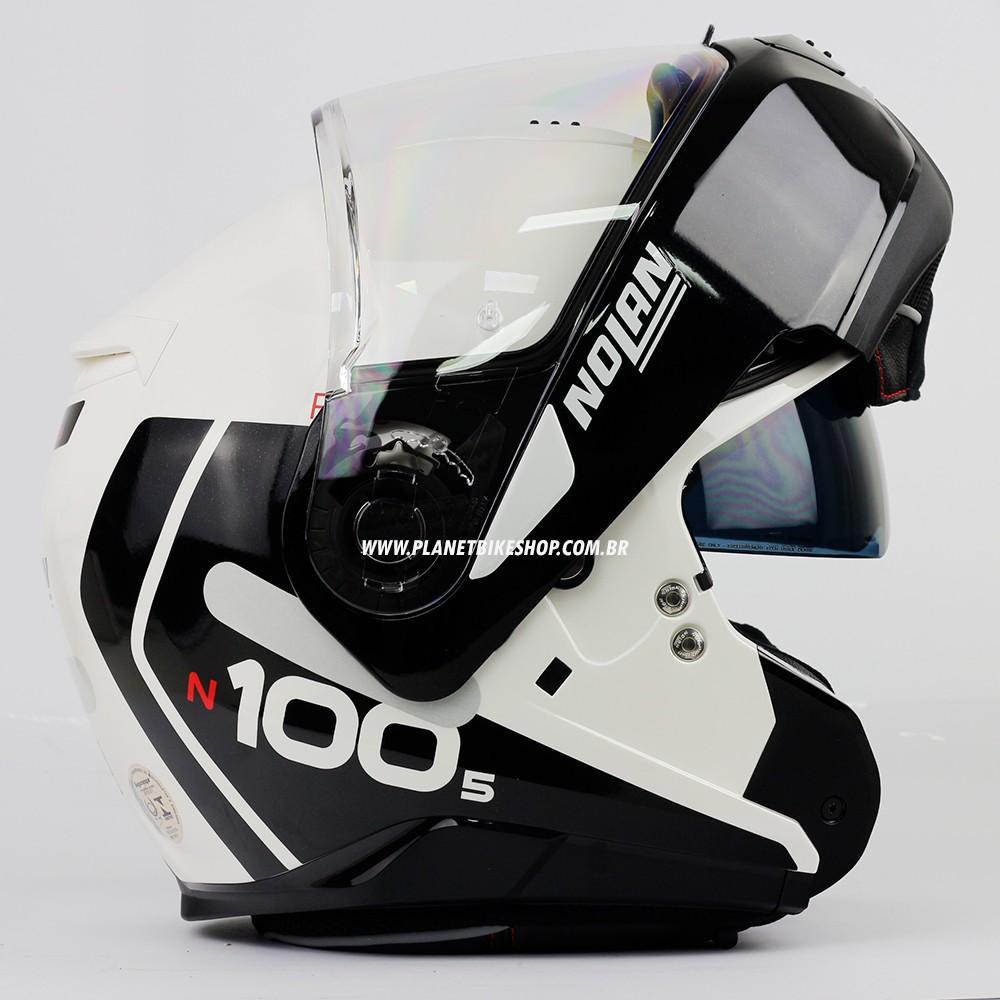 Capacete Nolan N100-5 Plus - Distinctive - Branco/Preto - Escamoteável C/ Viseira Solar (Ganhe Touca Balaclava)  - Planet Bike Shop Moto Acessórios