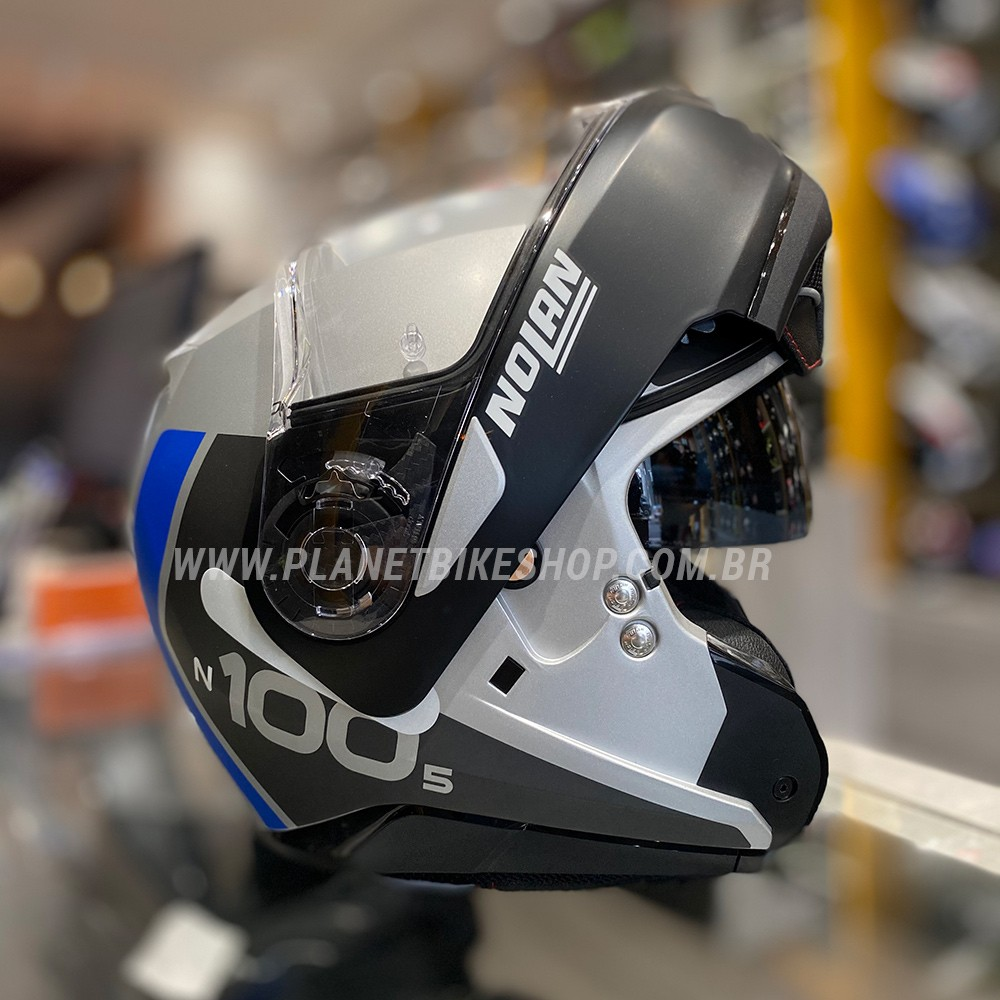 Capacete Nolan N100-5 Plus - Distinctive - Cinza/Azul - Escamoteável C/ Viseira Solar (Ganhe Touca Balaclava)  - Planet Bike Shop Moto Acessórios
