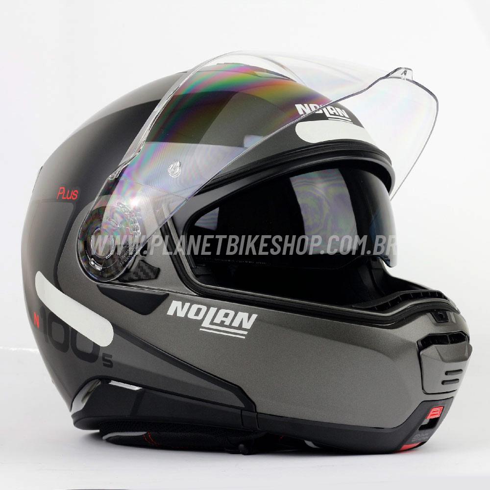 Capacete Nolan N100-5 Plus - Distinctive - Cinza/Preto - Escamoteável C/ Viseira Solar (Ganhe Touca Balaclava)  - Planet Bike Shop Moto Acessórios
