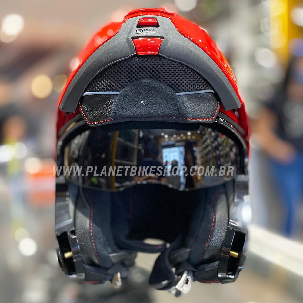 Capacete Nolan N100-5 Plus Distinctive Preto/Vermelho/Branco 27 Escamoteável C/ Viseira Solar - Ganhe Touca Balaclava  - Planet Bike Shop Moto Acessórios