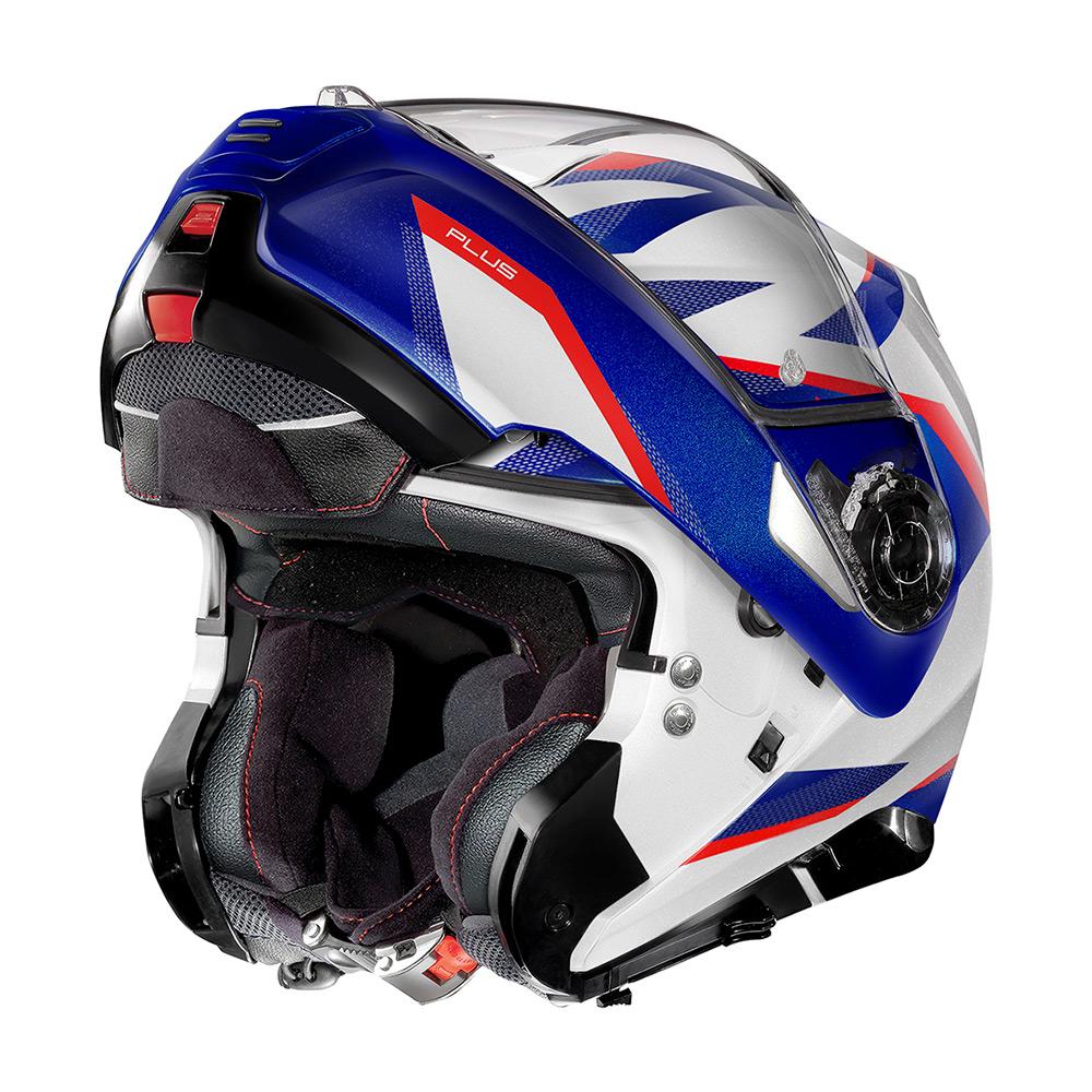 Capacete Nolan N100-5 Plus Overland Branco/Azul/Vermelho BMW (35) Escamoteável C/ Viseira Solar - Ganhe Touca Balaclava  - Planet Bike Shop Moto Acessórios