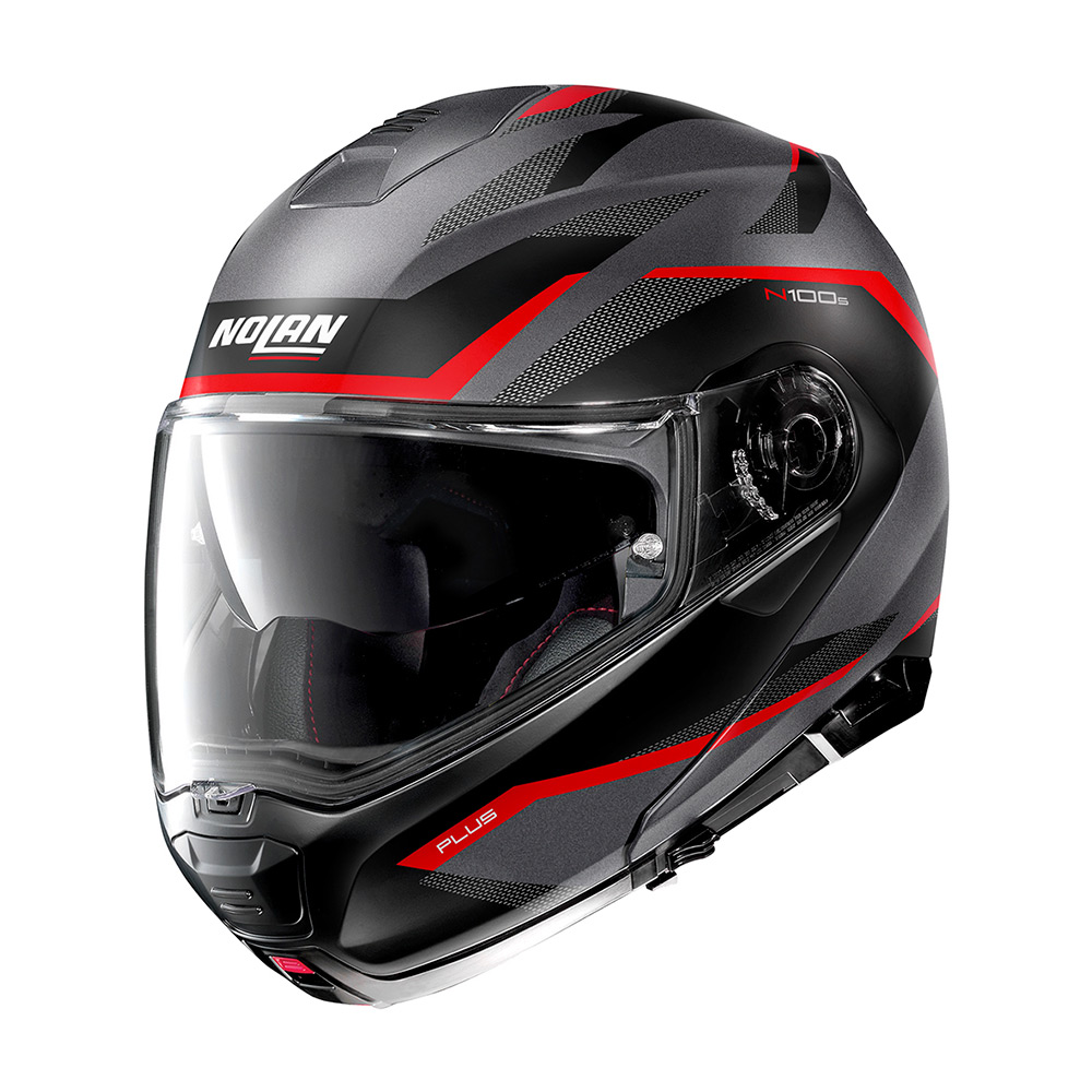 Capacete Nolan N100-5 Plus - Overland - Cinza/Vermelho Fosco (32) - Escamoteável C/ Viseira Solar (Ganhe Touca Balaclava)  - Planet Bike Shop Moto Acessórios