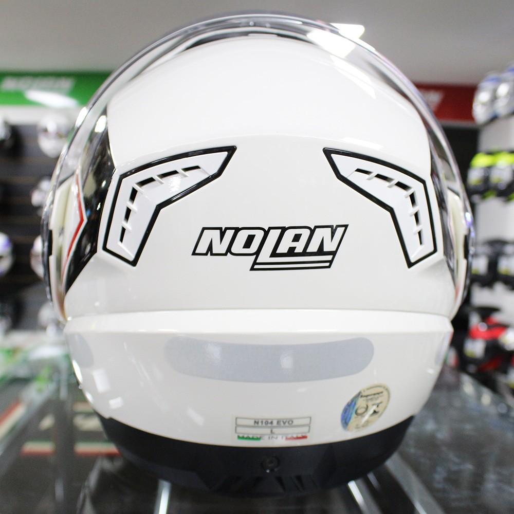 Capacete Nolan N104 Evo Scovery N-Com BRANCO/PRETO VERMELHO Escamoteável Cor: 43 - Ganhe Balaclava Exclusiva!  - Planet Bike Shop Moto Acessórios