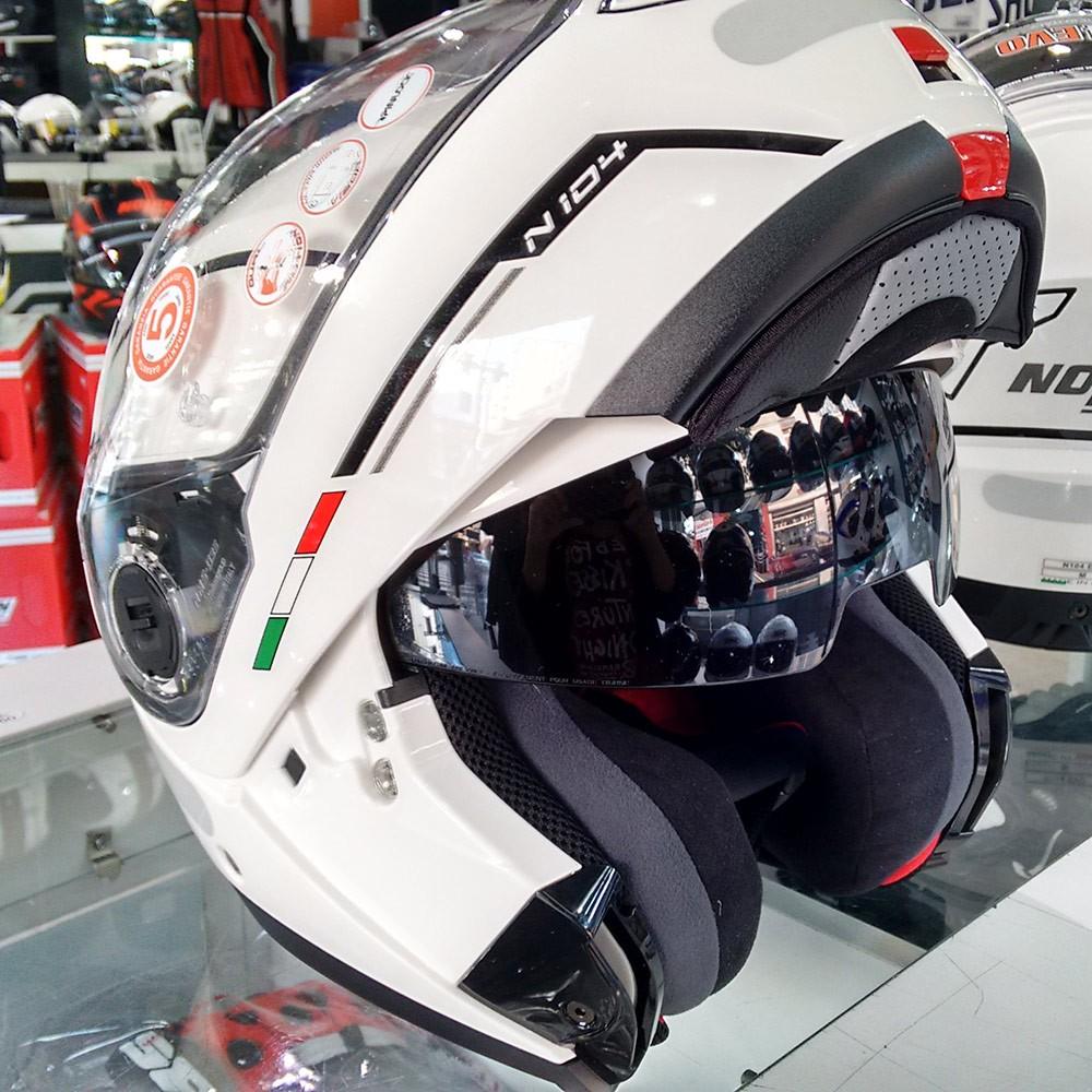 Capacete Nolan N104 Evo Storm METAL Branco Escamoteável - Mês do Motociclista