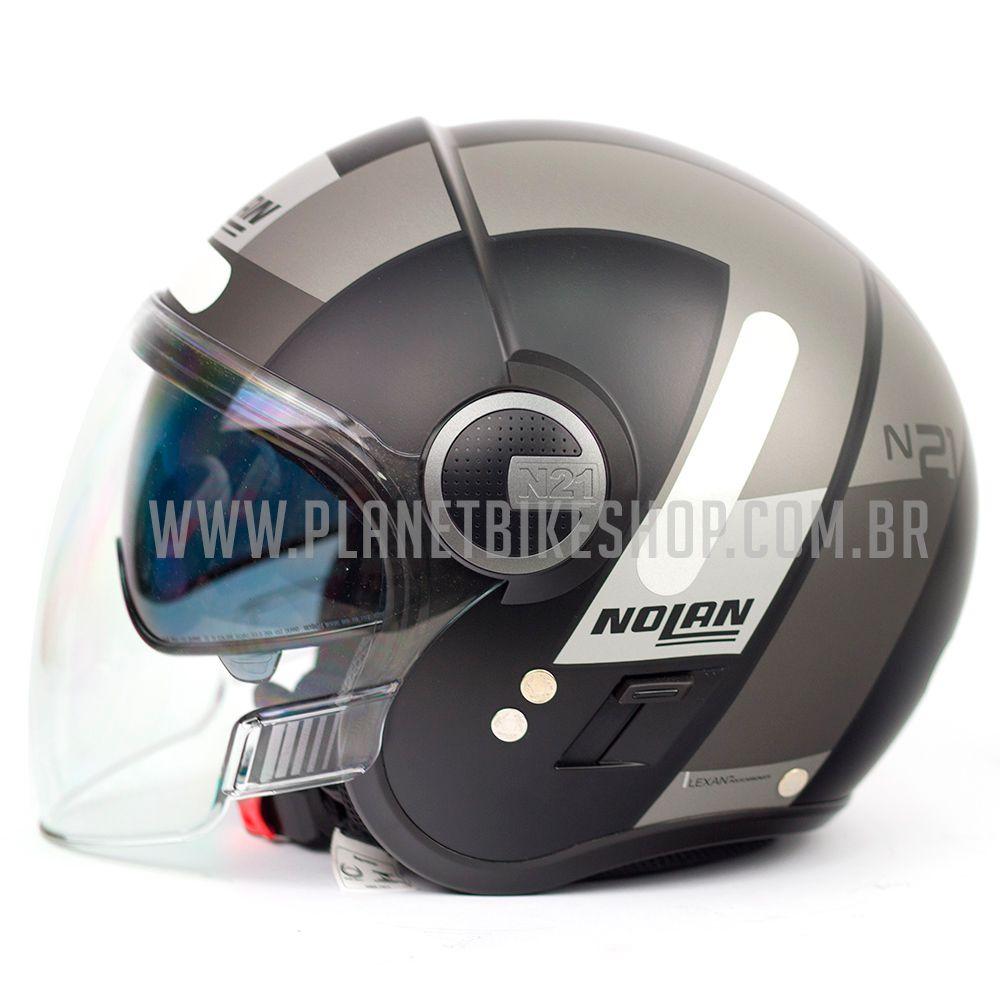 Capacete Nolan N21 Spheroid Cinza Fosco (48) - Com Óculos Interno - SuperOferta - Blade  - Planet Bike Shop Moto Acessórios