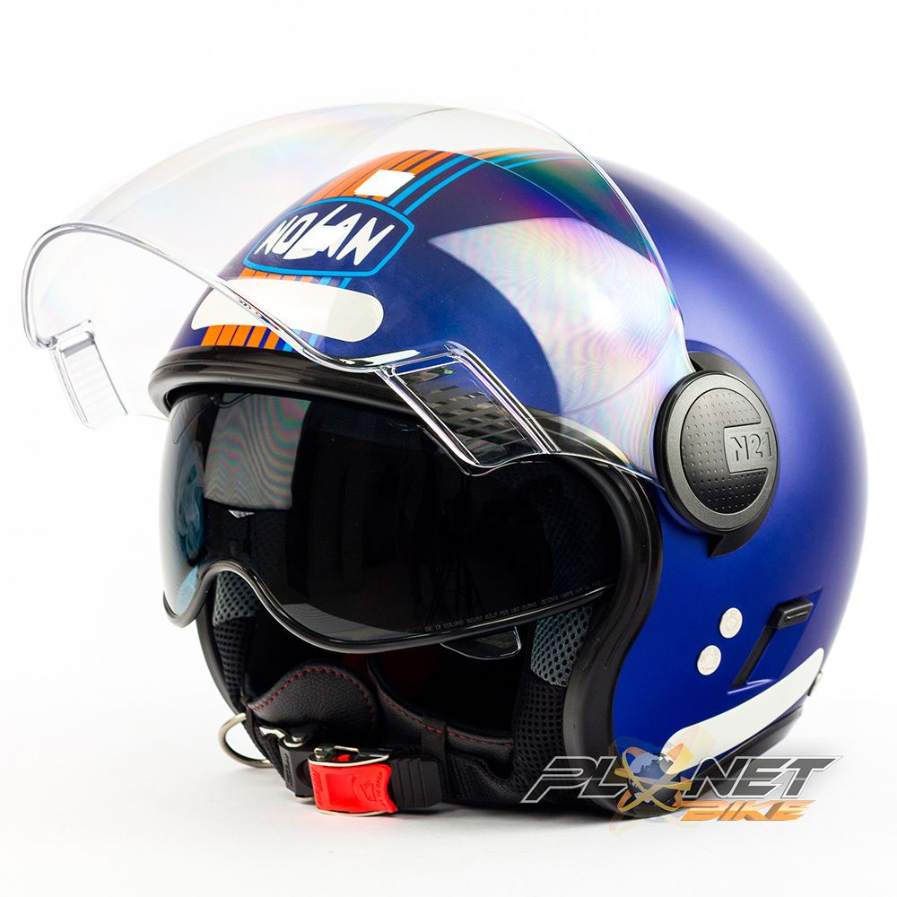 Capacete Nolan N21 Vivre Azul Cayman (Com Óculos Interno) - Blade  - Planet Bike Shop Moto Acessórios