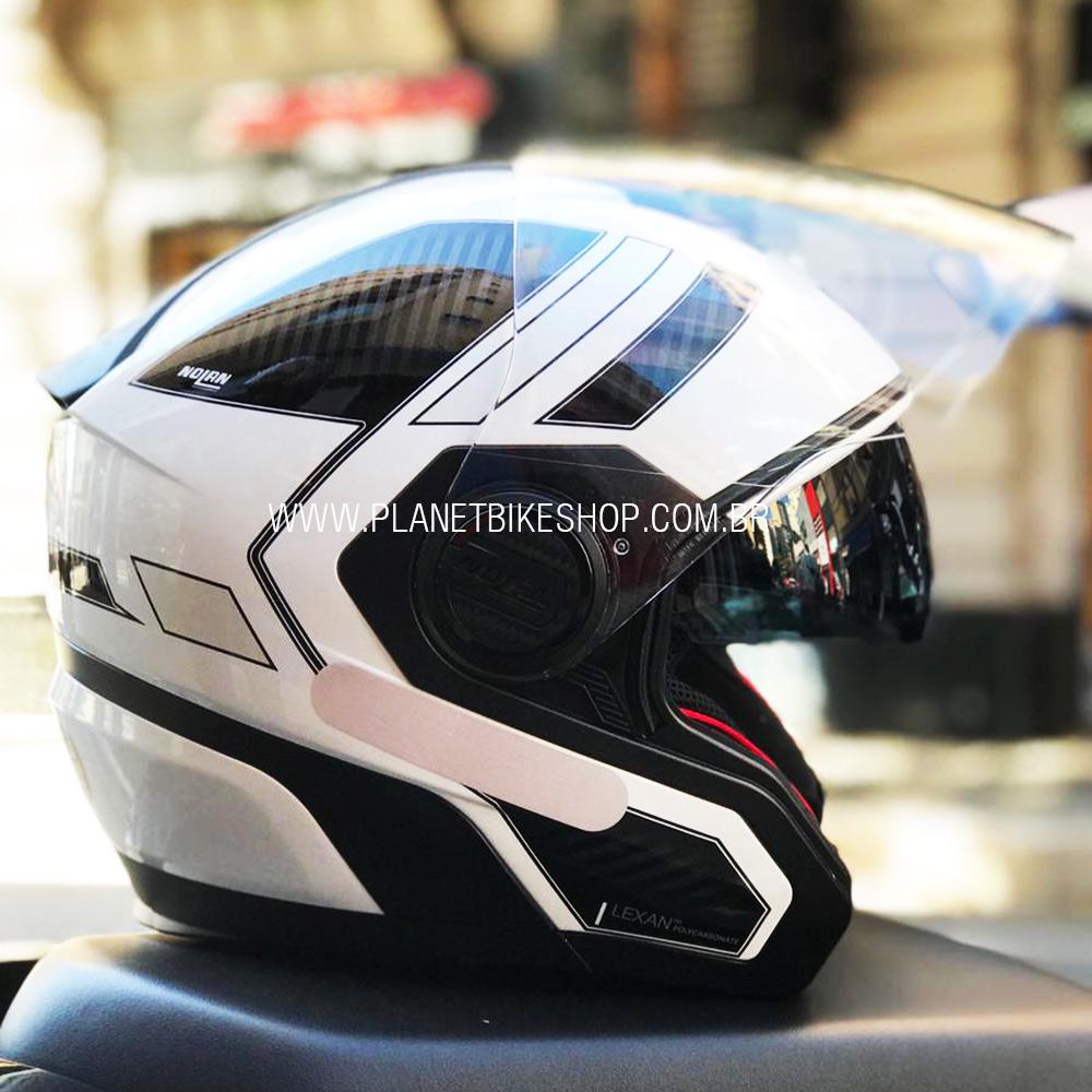 Capacete Nolan N40-5 Beltway Branco (21)  - Com viseira Solar - Aberto  - Planet Bike Shop Moto Acessórios
