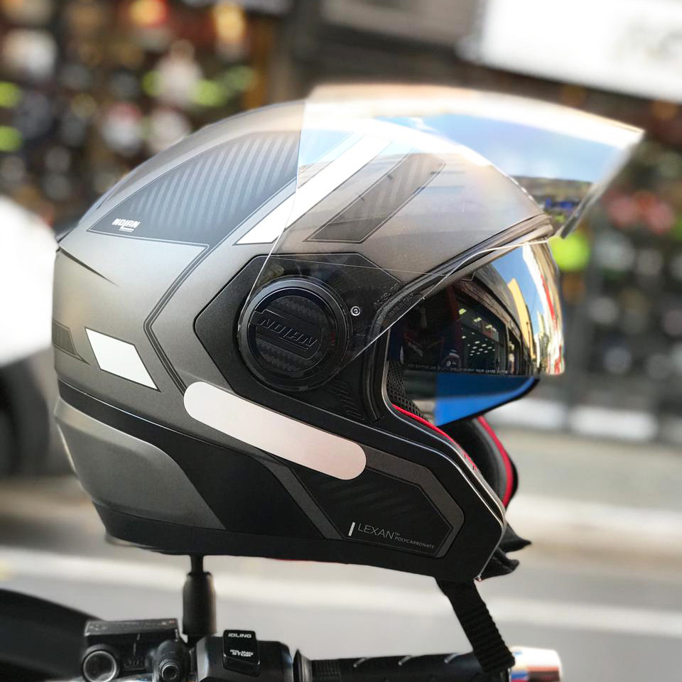 Capacete Nolan N40-5 Beltway Cinza/Preto (20) - Com viseira Solar - Aberto  - Planet Bike Shop Moto Acessórios