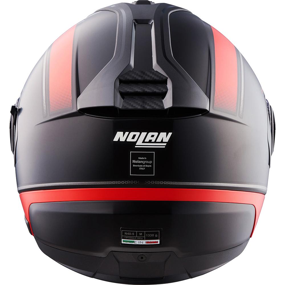 Capacete Nolan N40-5 Resolute Preto/Vermelho (17)  - Com viseira Solar - Aberto  - Planet Bike Shop Moto Acessórios
