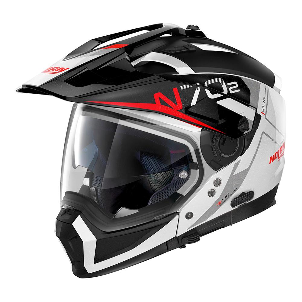 Capacete Nolan N70-2x Bungee Branco/Vermelho (39) Off-Road / Remove Queixeira  - Planet Bike Shop Moto Acessórios