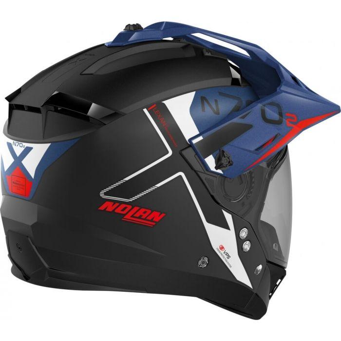 Capacete Nolan N70-2x Bungee Preto/Azul/Vermelho Off-Road / Remove Queixeira  - Planet Bike Shop Moto Acessórios
