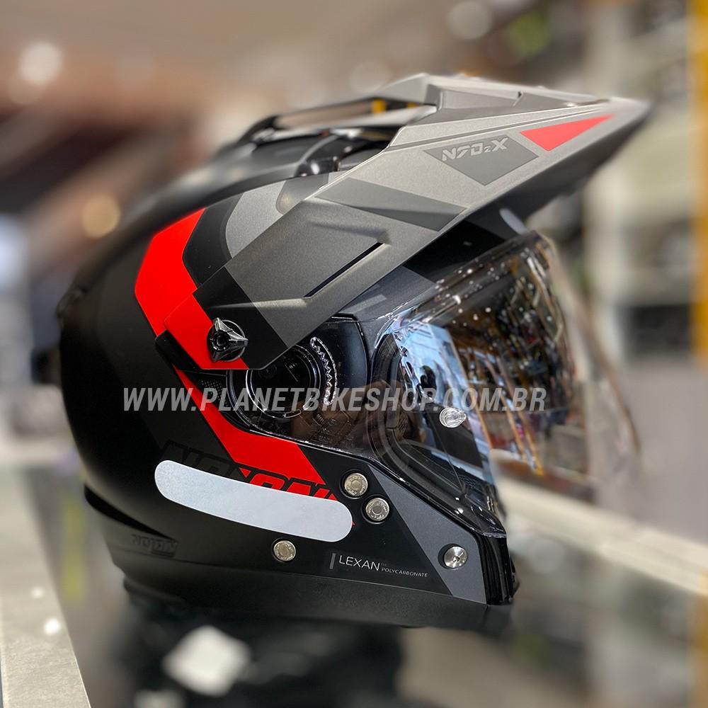 Capacete Nolan N70-2x Decurio Cinza/Vermelho Off-Road / Remove Queixeira  - Planet Bike Shop Moto Acessórios