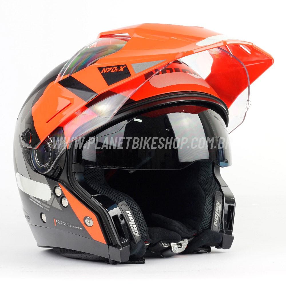 Capacete Nolan N70-2x Decurio Preto/Laranja Off-Road / Remove Queixeira  - Planet Bike Shop Moto Acessórios