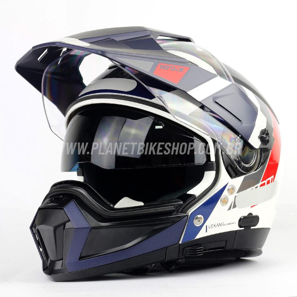 Capacete Nolan N70-2x Decurio Tricolor (Azul/Vermelho/Branco) Off-Road / Remove Queixeira  - Planet Bike Shop Moto Acessórios