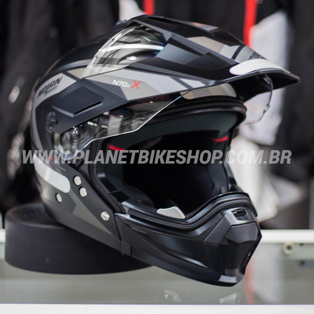 Capacete Nolan N70-2x Grandes Alpes - Preto/Cinza/Fosco  - Planet Bike Shop Moto Acessórios