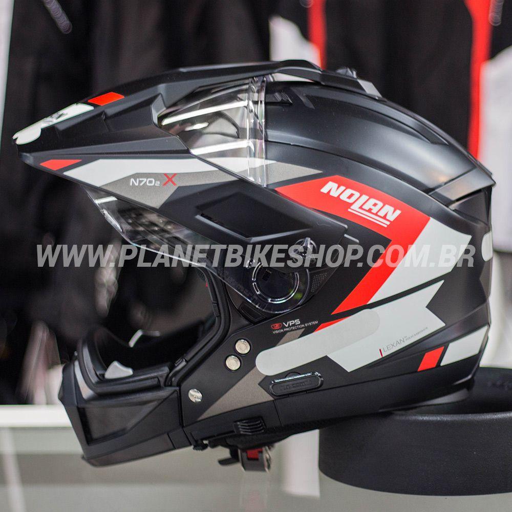 Capacete Nolan N70-2x Grandes Alpes - Preto/Vermelho/Fosco  - Planet Bike Shop Moto Acessórios