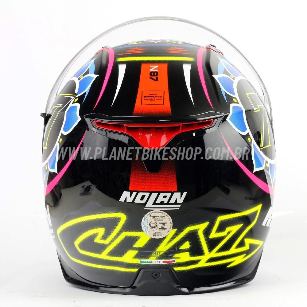 Capacete Nolan N87 Chaz Davies - Preto/Azul/Rosa/Vermelho - C/ Viseira Solar (Ganhe Pinlock + Touca Balaclava)  - Planet Bike Shop Moto Acessórios