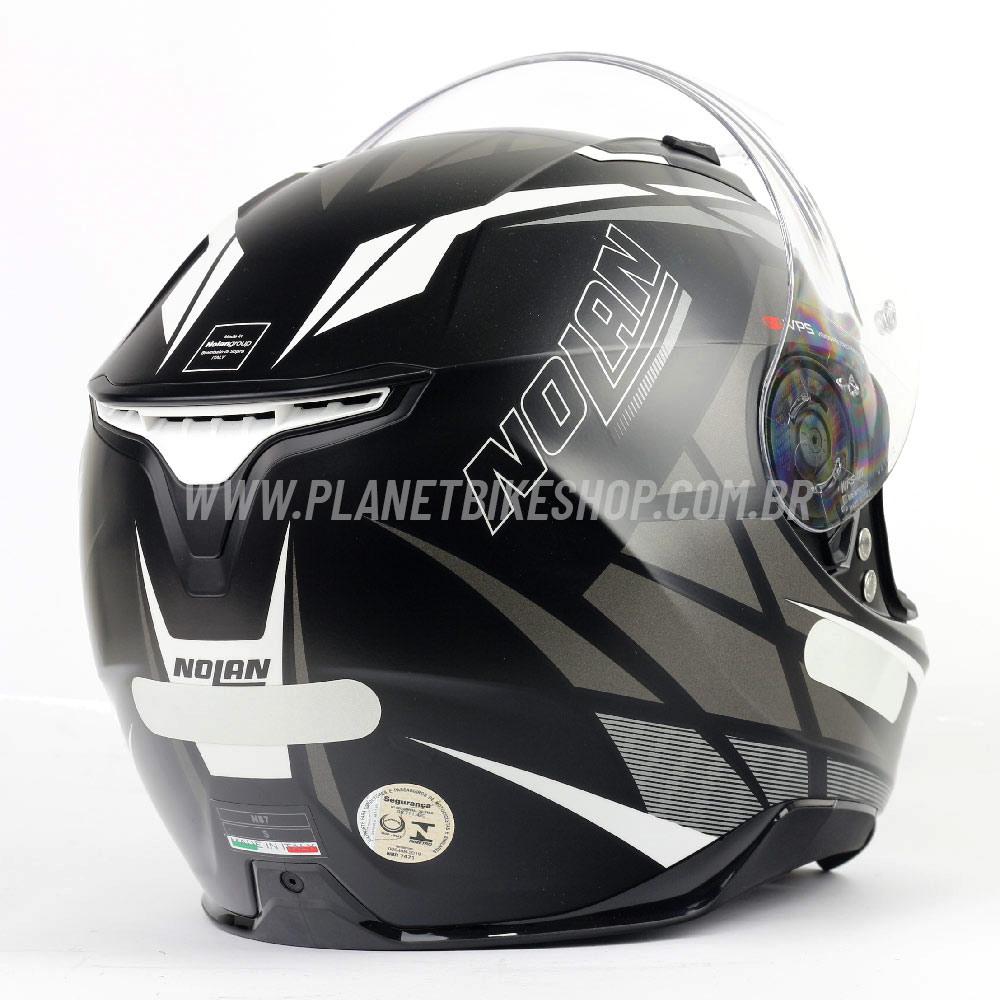 Capacete Nolan N87 Originality Flat Black Cinza (68) C/ Viseira Solar (Ganhe Pinlock + Touca Balaclava)  - Planet Bike Shop Moto Acessórios